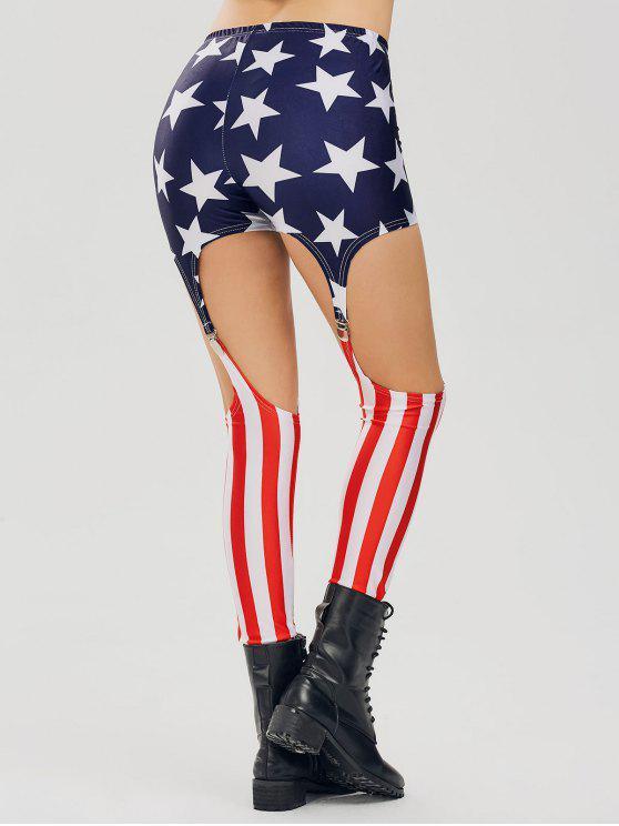 Patriotische Leggings mit Cut Out am Knie und  amerikanischen Flagge - COLORMIX  XL