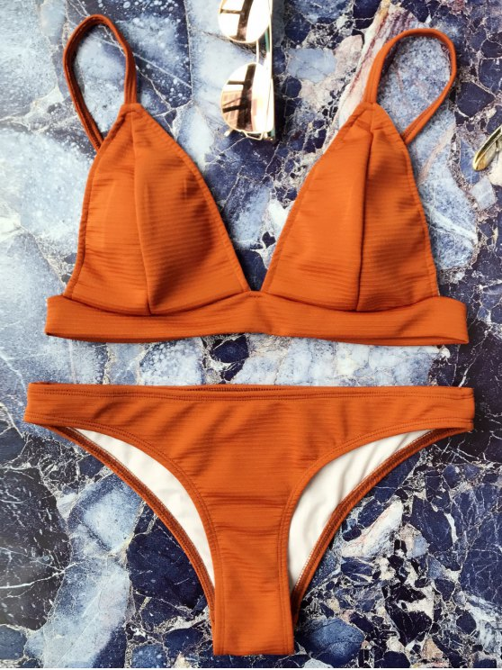 Traje de Bikini sin Aros con Tirante Fino con Escote Pico - Marrón S