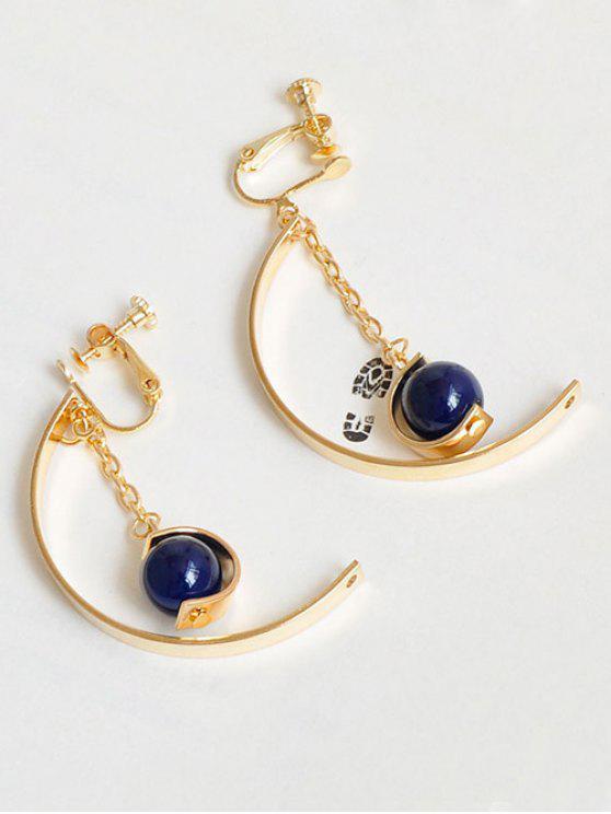 women Bead Metal Half Circle Chain Earrings - GOLDEN