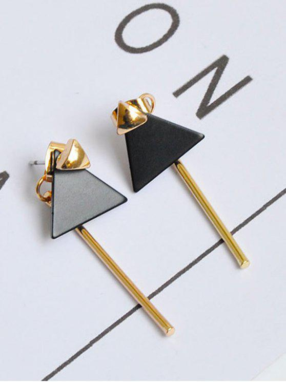 Triangle Bar Front Back Earrings - Or