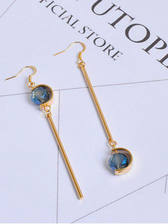 Faux Sapphire Ball Bar Hook Earrings - Or