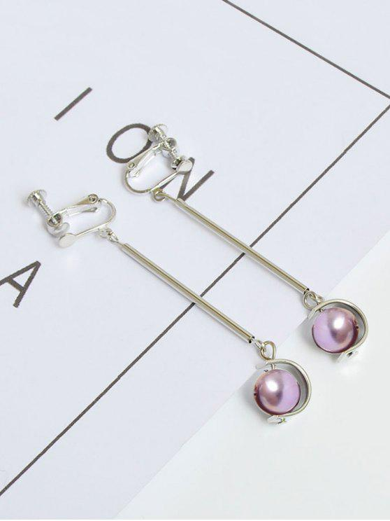 outfit Metal Half Circle Ball Bar Earrings - SILVER
