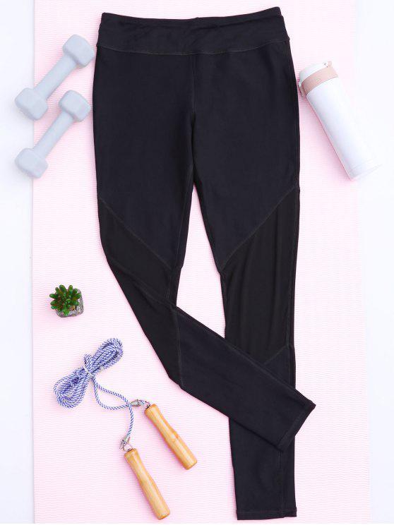 sale Mesh Insert Footless Yoga Leggings - BLACK L