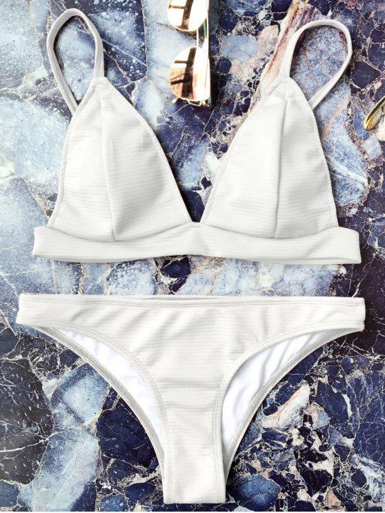 Ensemble Bikini Bralette Cami Plongeant - Blanc S
