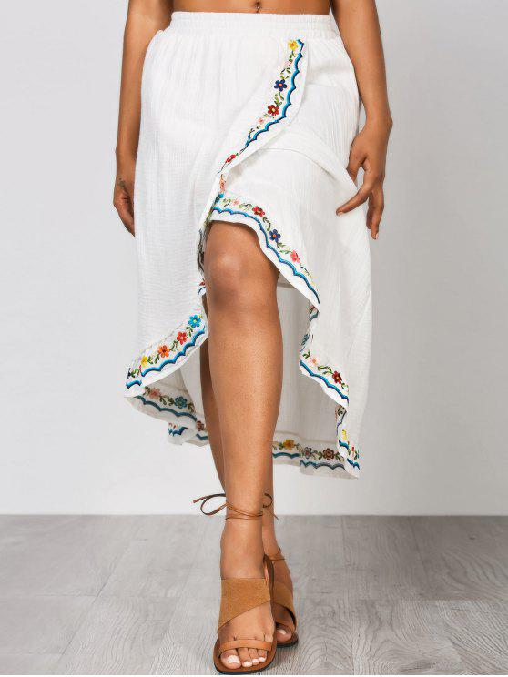 best Front Slit Embroidered Asymmetrical Skirt - WHITE L