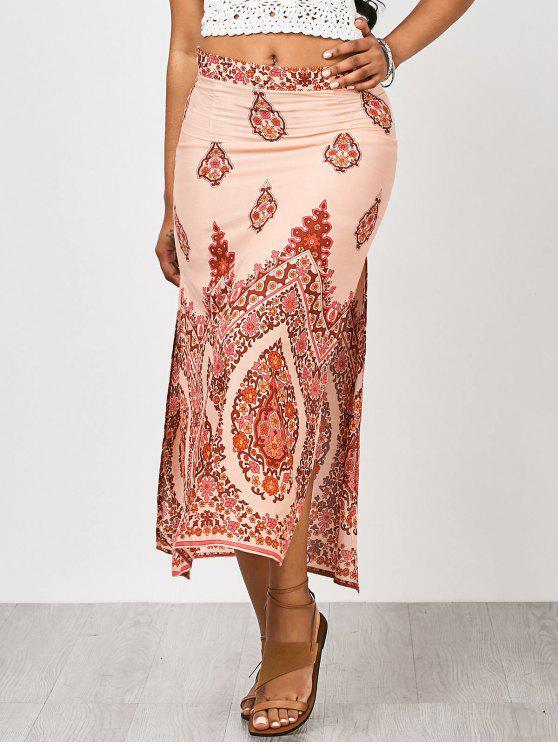 hot Floral Slit Beach Maxi Skirt - FLORAL L
