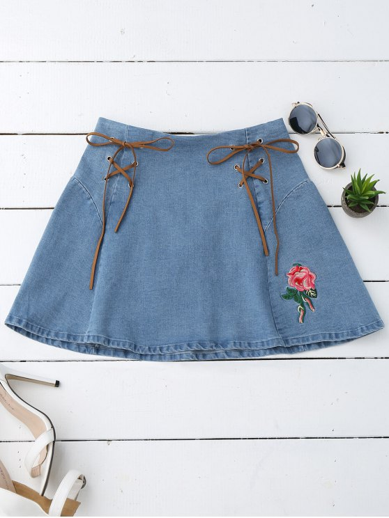 latest Floral Embroidered Lace Up Denim Skirt - DENIM BLUE S