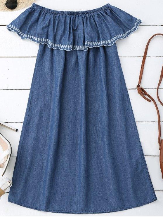 مطرز قبالة الكتف البسيطة اللباس - ازرق M