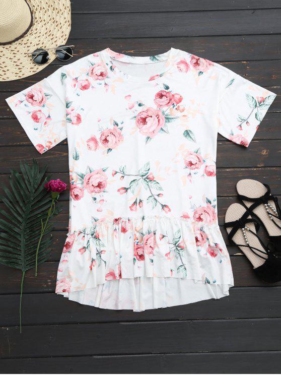 Vestido Alto Bajo Floral de Camiseta con Volantes - Blanco M