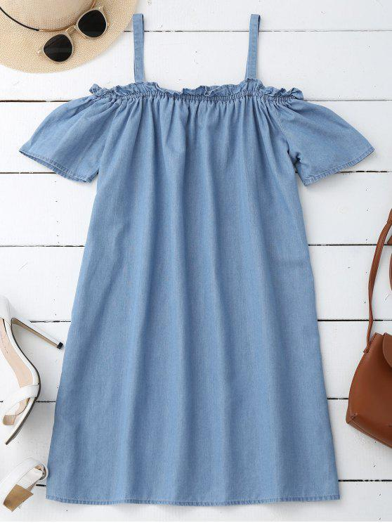 new Straight Casual Cold Shoulder Dress - LIGHT BLUE S