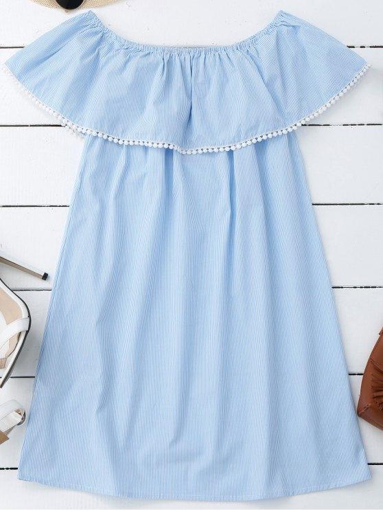 outfit Stripes Lace Trim Off Shoulder Mini Dress - STRIPE M