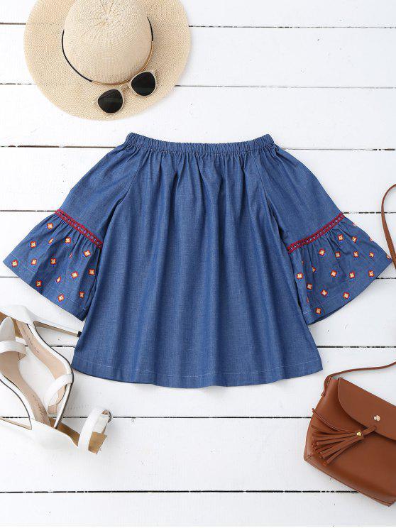 women Flare Sleeve Embroidered Off Shoulder Blouse - DENIM BLUE S