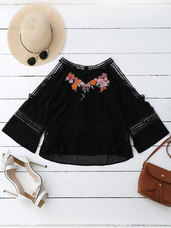 women's Embroidered Crochet Panel Cold Shoulder Blouse - BLACK L