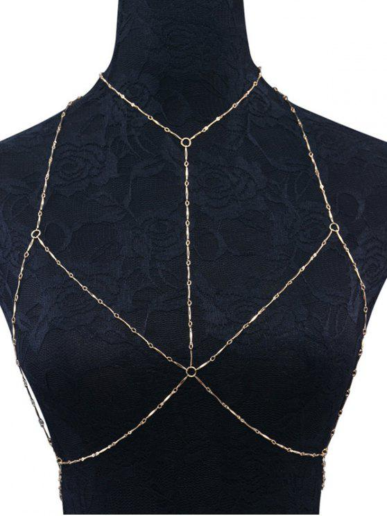 online Geometric Circle Bra Body Chain - GOLDEN