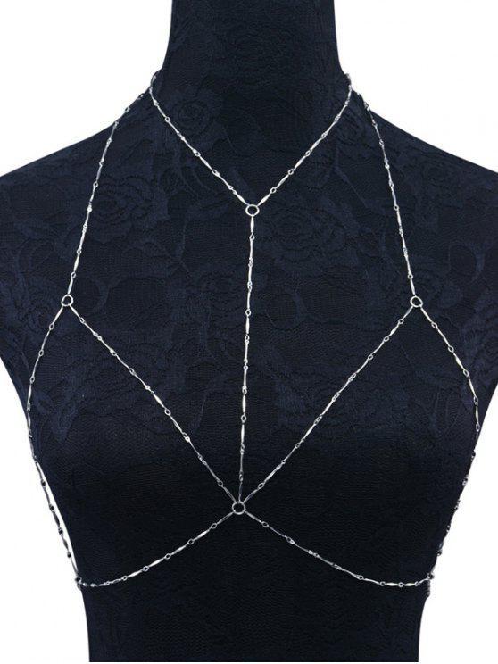 new Geometric Circle Bra Body Chain - SILVER