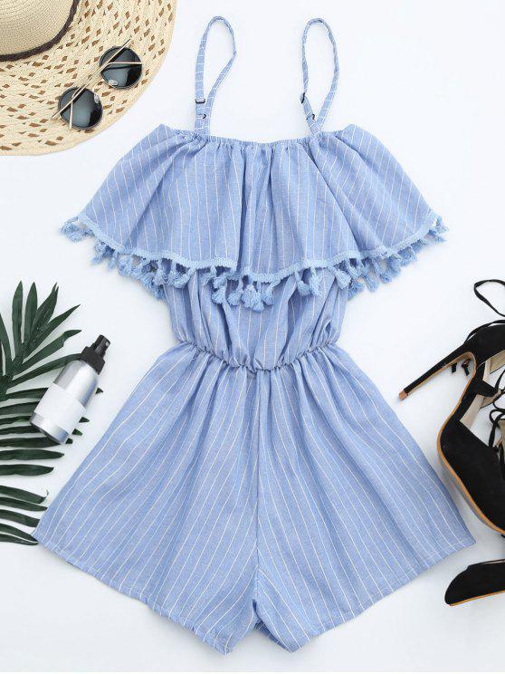 fashion Overlay Cami Tassel Striped Romper - LIGHT BLUE ONE SIZE