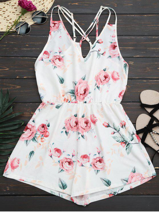 sale Criss Cross Cami Floral Romper - WHITE XL