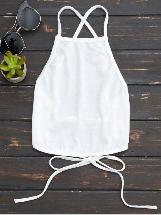 ladies Open Back Cropped Tank Top - WHITE M
