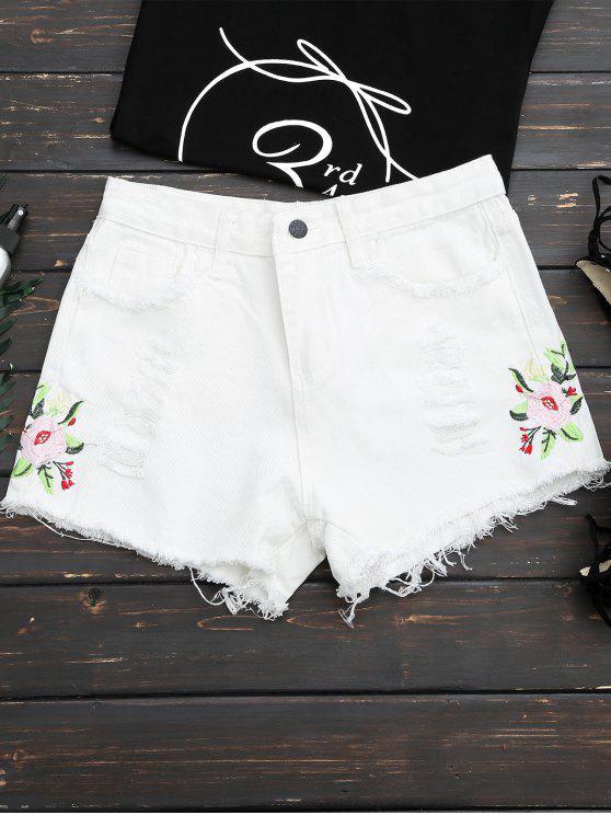Blumengestickte zerrissene Shorts mit Fransen - Weiß S