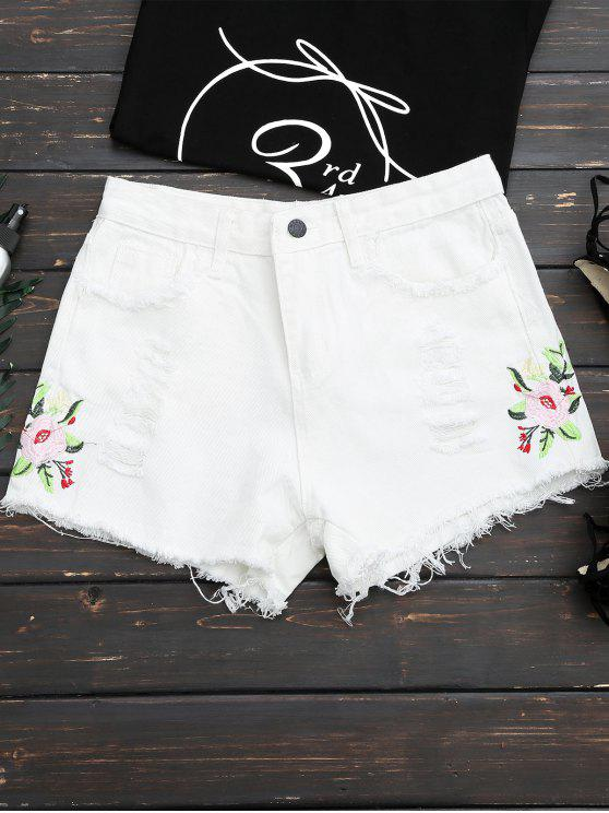 chic Frayed Hem Floral Embroidered Ripped Shorts - WHITE L