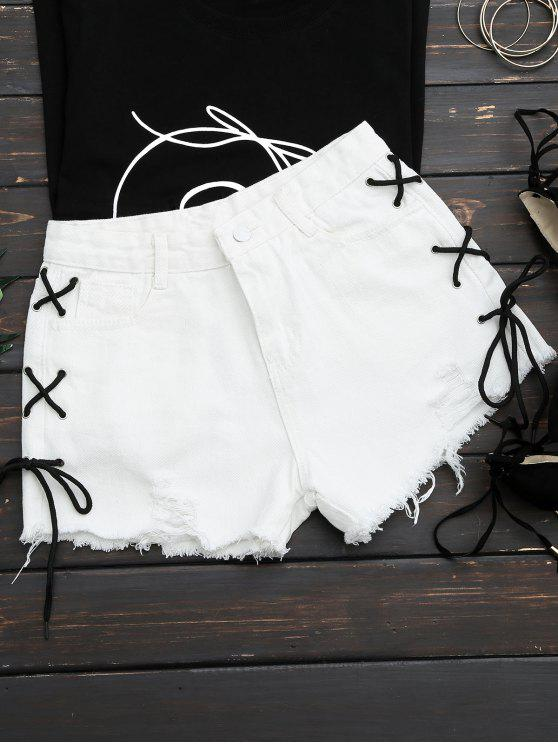 affordable Frayed Side Lace Up Ripped Denim Shorts - WHITE L