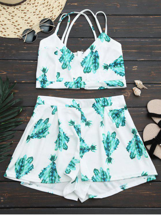 womens Back Zipper Criss Cross Crop Top with Plant Short - WHITE S