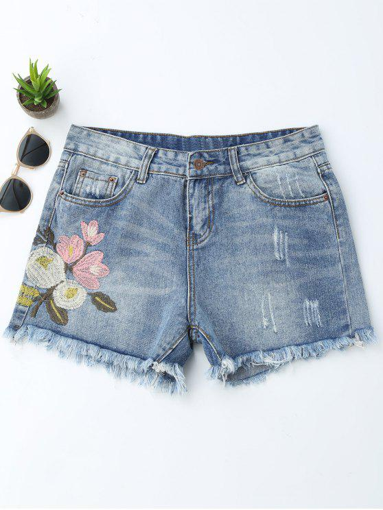 best Embroidered Ripped Cutoffs Denim Shorts - DENIM BLUE L