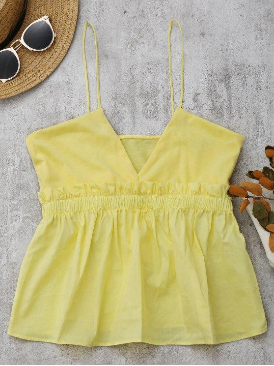 Cami Ruffles Smocked Camisola de alças - Amarelo S