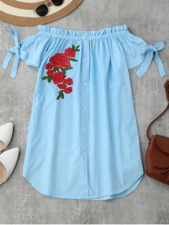 Floral Vestido Bordado Ombro Mini - Azul Claro S