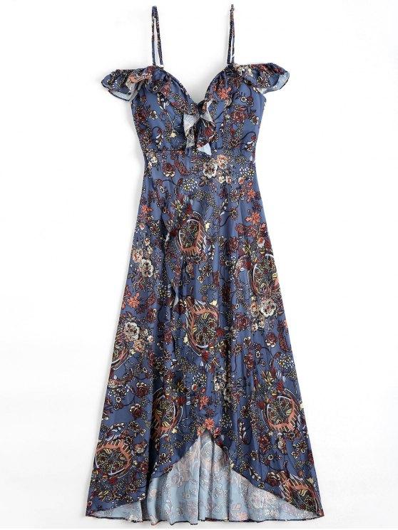 فستان الشاطئ طباعة الأزهار غير متماثل باردة الكتف - الأزهار M