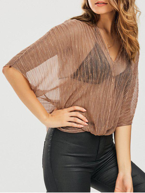womens See-Through Shiny Kimono Blouse - GOLDEN S