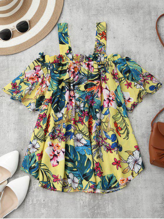 Blusa de Flores con Hombros al Aire - Floral M