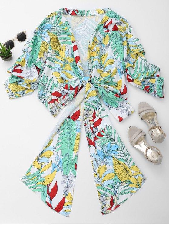 Floral Kimono Wrap Blusa - Floral S