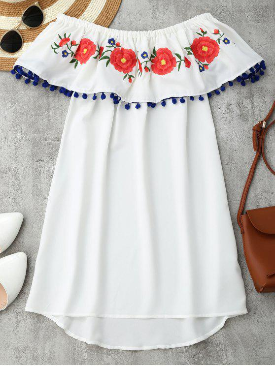 new Embroidered Ruffles Off Shoulder Mini Dress - WHITE S