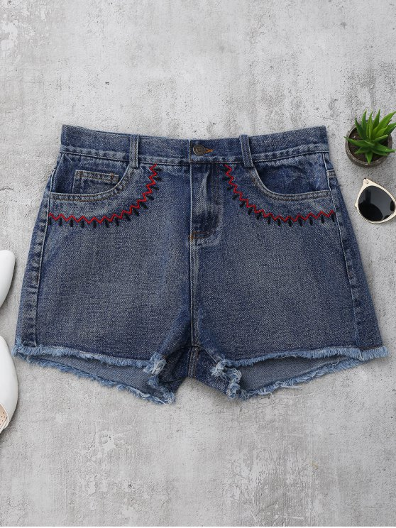 women's Embroidered Cutoffs Denim Shorts - DENIM BLUE L