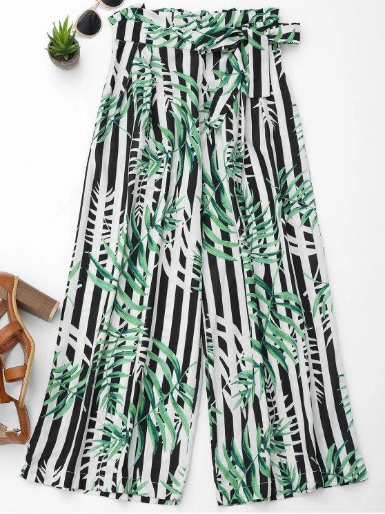 outfit Stripes Leaves Print Wide Leg Pants - COLORMIX M