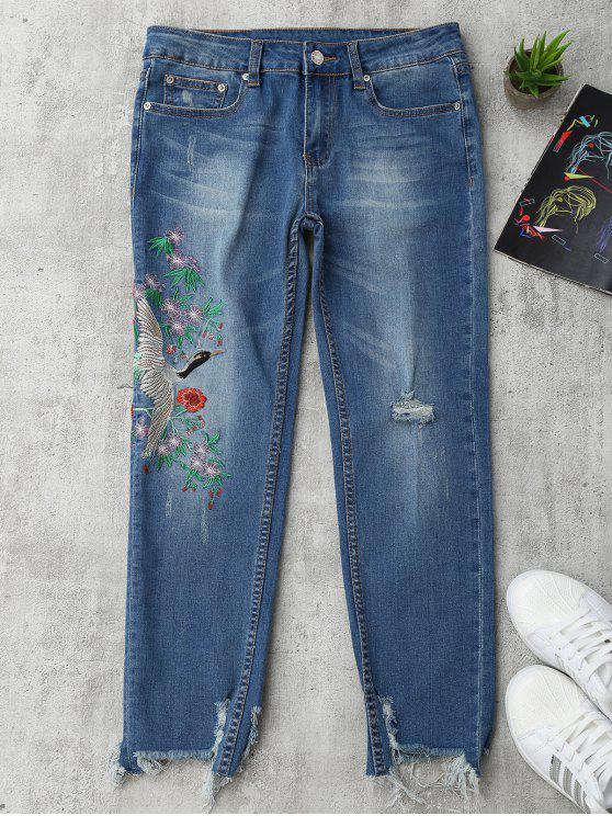 Pantalon Usé Brodé Floral Oiseau - Denim Bleu L