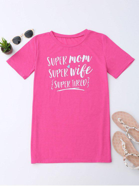 hot Super Mom Letter T-Shirt - DEEP PINK L