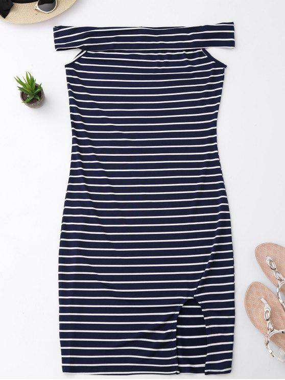 Side Slit Off Shoulder Striped Vestido Bodycon - Listras XL