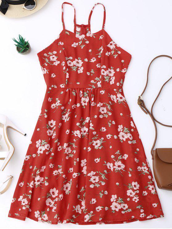 Robe plissée à bretelle imprimée petite fleur - Rouge S