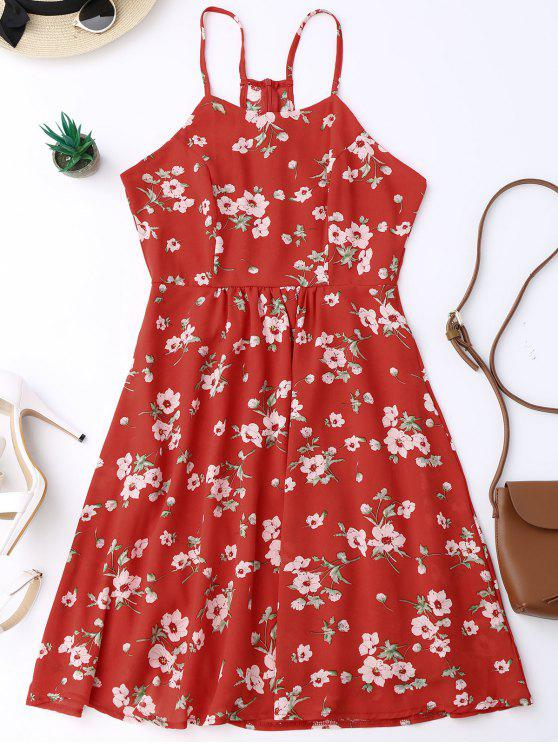 hot Cami Tiny Floral Smock Dress - RED L