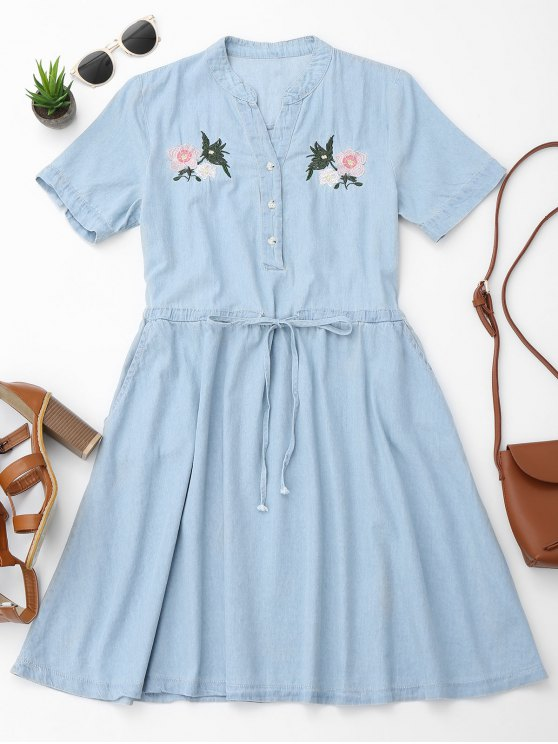 affordable Belted Floral Embroidered Casual Dress - LIGHT BLUE M