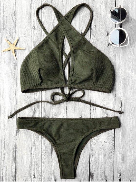 new Rib Texture Keyhole Wrap Bikini Set - DEEP GREEN M