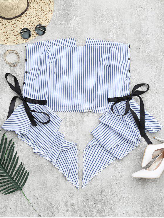 unique Zippered Flare Sleeve Off Shoulder Striped Blouse - STRIPE L