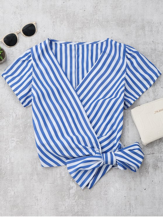 lady Striped Wrap Cropped Top - BLUE S