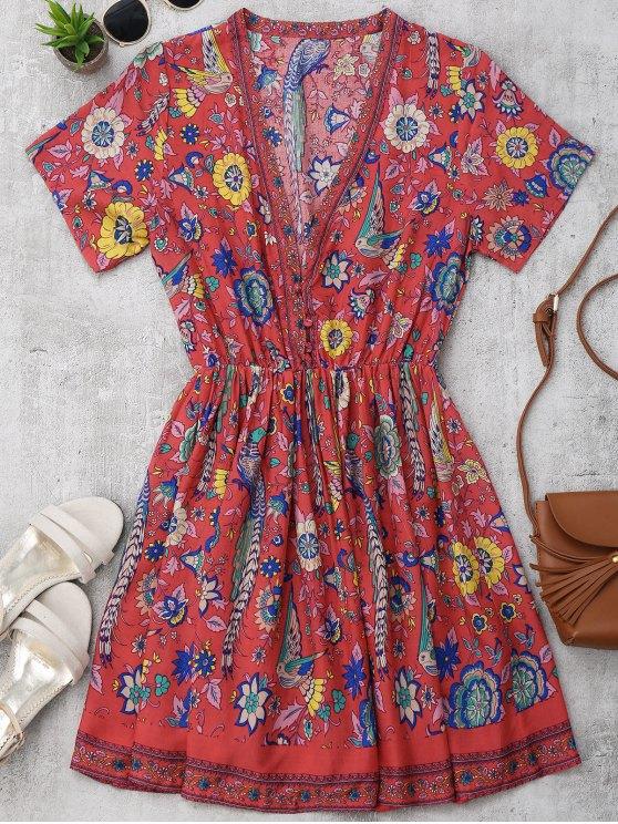 Vestido Floral en A Línea con Botón Medio - Floral L