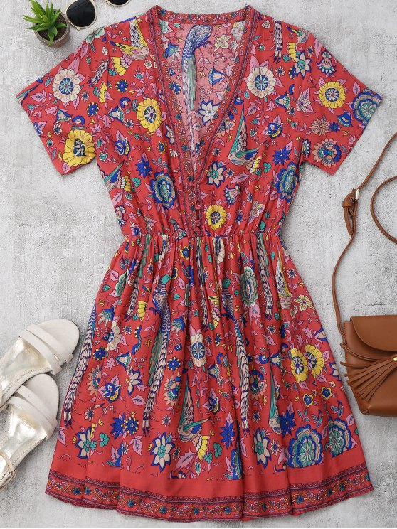 outfit Floral Half Buttoned A-Line Dress - FLORAL M