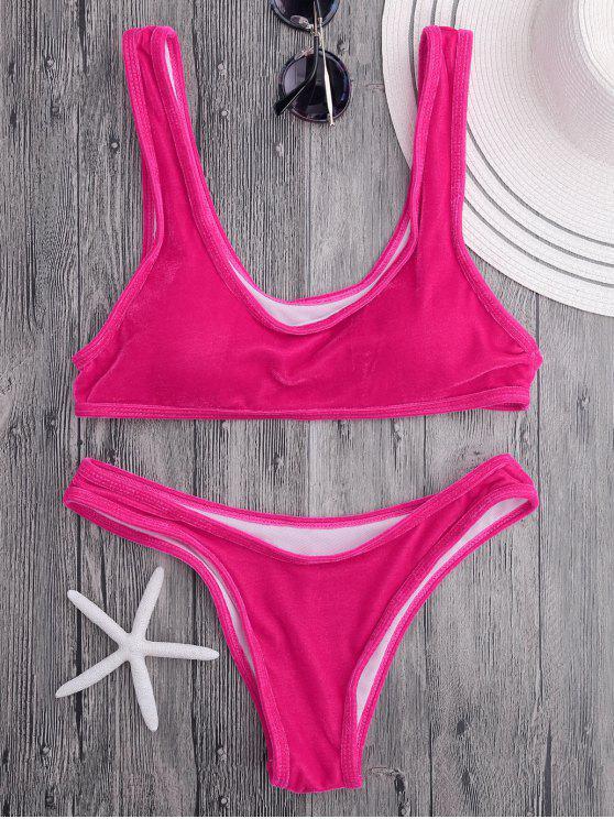 fashion Velvet Bralette Scoop Bikini Set - ROSE S