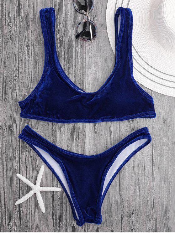 Velvet Bralette Scoop Bikini Set - Royal Blue M