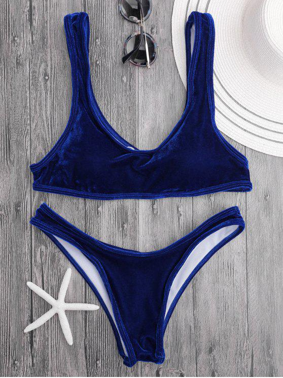 Conjunto de bikini de cucharada de terciopelo Bralette - Azul Royal S